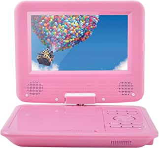 FENGJIDA 7.5'' Portable DVD Player, Built-in Rechargeable Battery, 270°Swivel Screen, 5.9 ft Car Charger SD Card Slot and USB Port - Pink