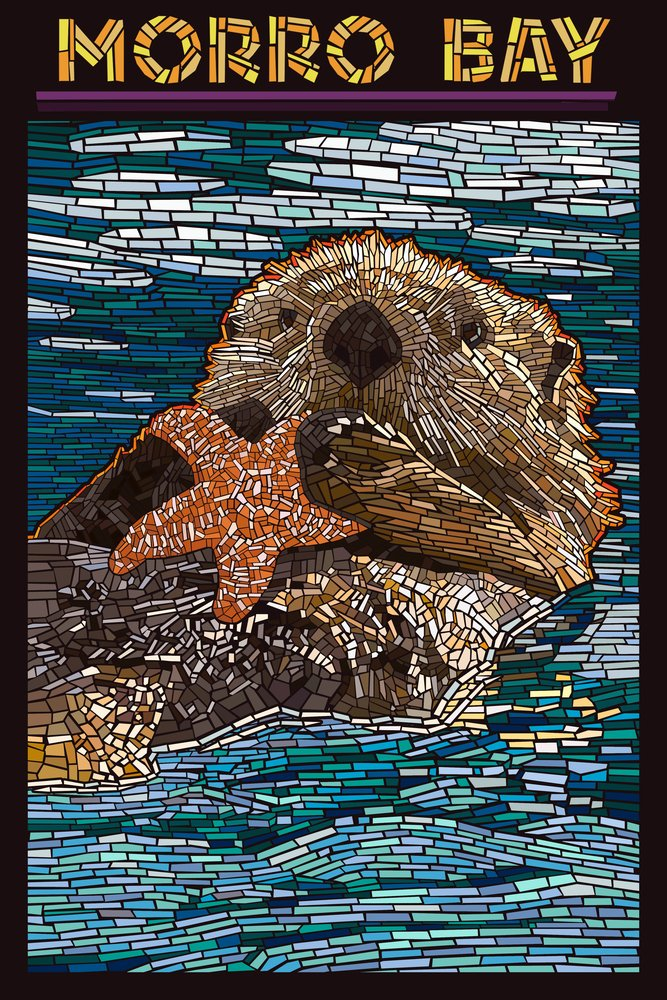 Morro Bay , California – Sea Otter – モザイク 36 x 54 Giclee Print LANT-50776-36x54 36 x 54 Giclee Print  B017E9T25I