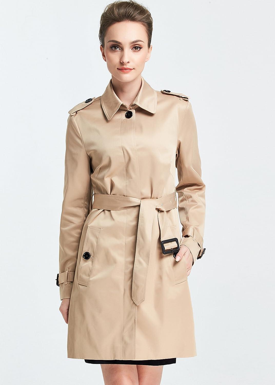 Camii Mia Womens Slim Fit Windbreaker Belted Trench Coat
