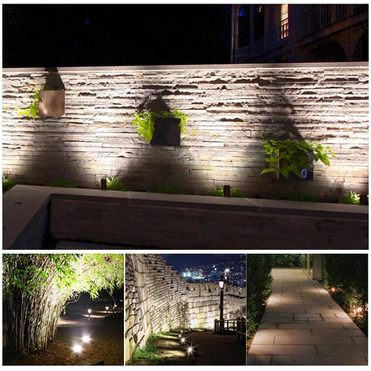 fontaine Spot LED Jardin MEIKEE Lampe 7W 850LM à piquet piscine arbres et massifs Lot de 4 lampe basse tension 12-24V d'extérieur blanc froid Etanche IP66 pour valoriser terrasse