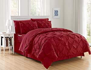 Elegant Comfort Luxury Best, Softest, Coziest 6-Piece Bed-in-a-Bag Comforter Set on Amazon Silky Soft Complete Set Includes Bed Sheet Set with Double Sided Storage Pockets, Twin/Twin XL, Burgundy