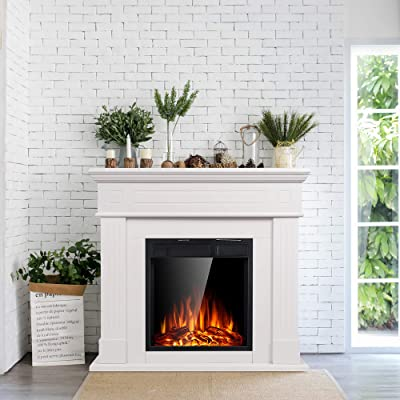 Buy Jamfly Electric Fireplace Mantel Package Wooden Surround Firebox Tv Stand Free Standing Electric Fireplace Heater With Logs Adjustable Led Flame Remote Control 750w 1500w White Online In Taiwan B07thb17bj