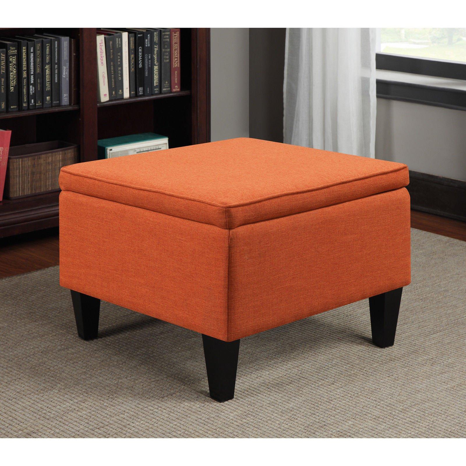 Portfolio Engle Flip Over Table & Storage Ottoman in Durable Orange Linen-like Fabric and Dark Espresso Finish
