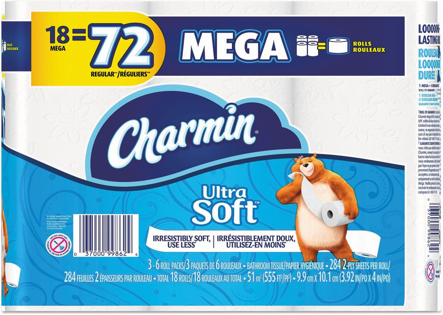 4 x 3.92 12 Rolls//Pack Charmin Ultra Soft Bathroom Tissue 284 Sheets//Roll 2-Ply