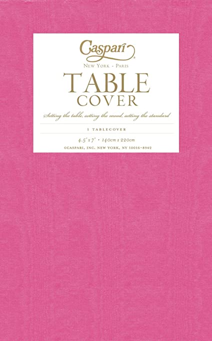Entertaining With Caspari Moire Printed Paper Table Cover, 54 By 84 Inch,  Fuchsia