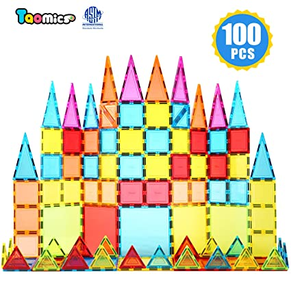 Taomics 100PCS Magnetic Building Blocks, Strong 3D Clear Tiles Children Educational Stacking Toys for Imagination Inspirational Spatial Thinking Development, Magnet Construction Blocks Playboards Set