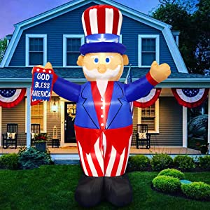 LAUJOY 6 Foot Tall Patriotic 4th of July Independence Day Inflatable Uncle Sam with God Bless America Flag Blow Up Lighted Yard Decor Parade Indoor Outdoor Holiday Garden Decorations