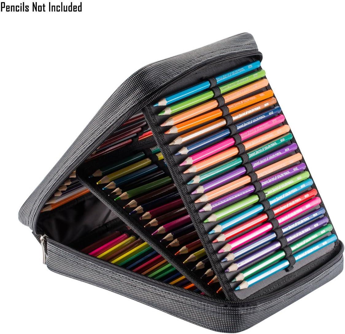 Estuche UTRO de tela oxford, de gran capacidad (120 lápices normales), con asa , color gris: Amazon.es: Oficina y papelería