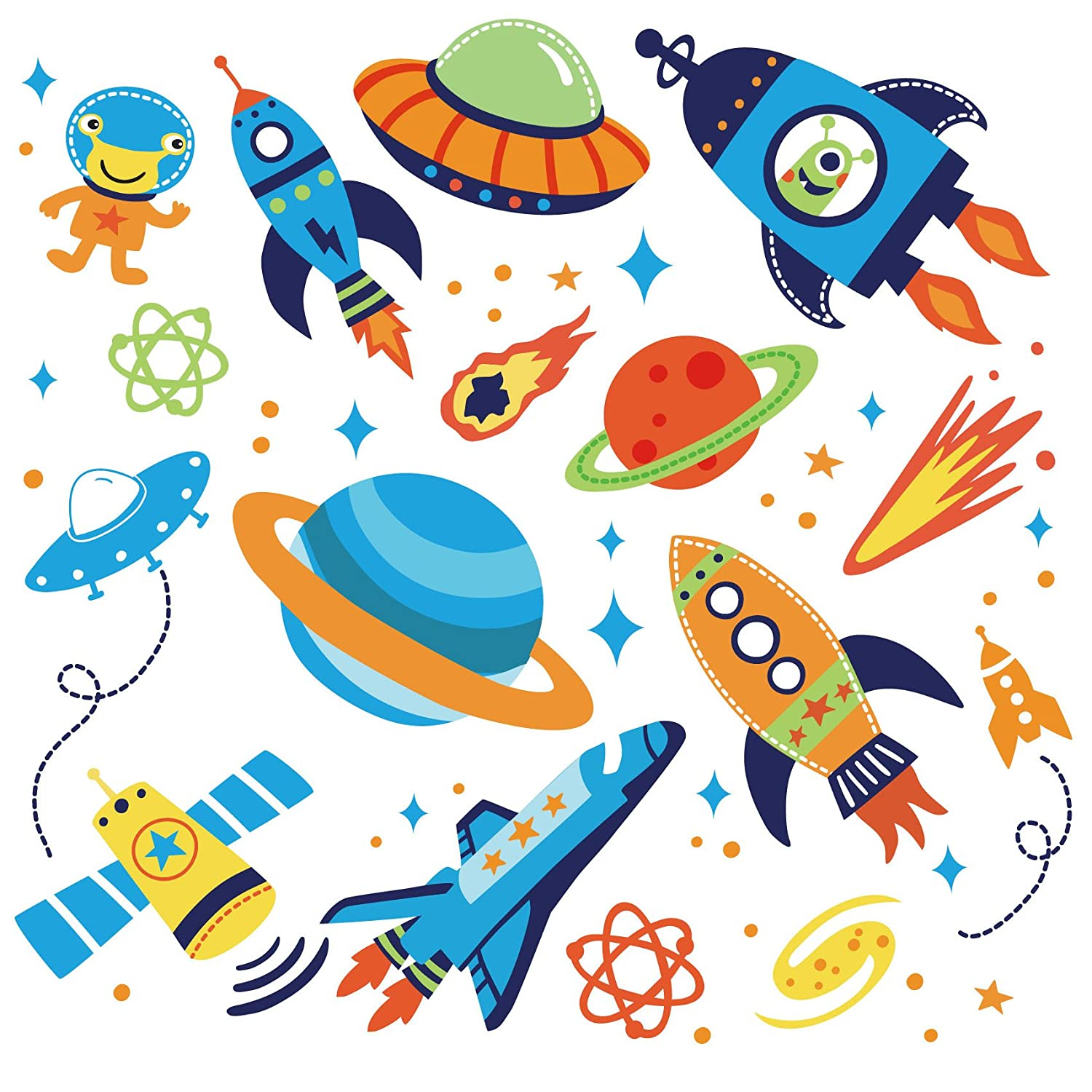 Amazon.com: Super Space Explorer Decorative Peel U0026 Stick Wall Art Sticker  Decals: Baby Part 21