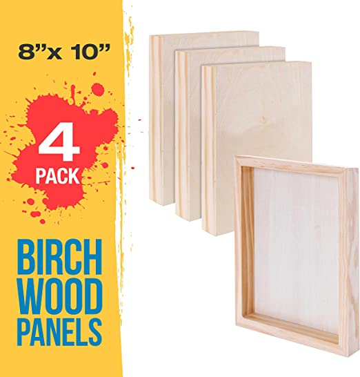 Amazon Com U S Art Supply 8 X 10 Birch Wood Paint Pouring Panel Boards Gallery 1 1 2 Deep Cradle Pack Of 4 Artist Depth Wooden Wall Canvases Painting Mixed Media Craft Acrylic Oil