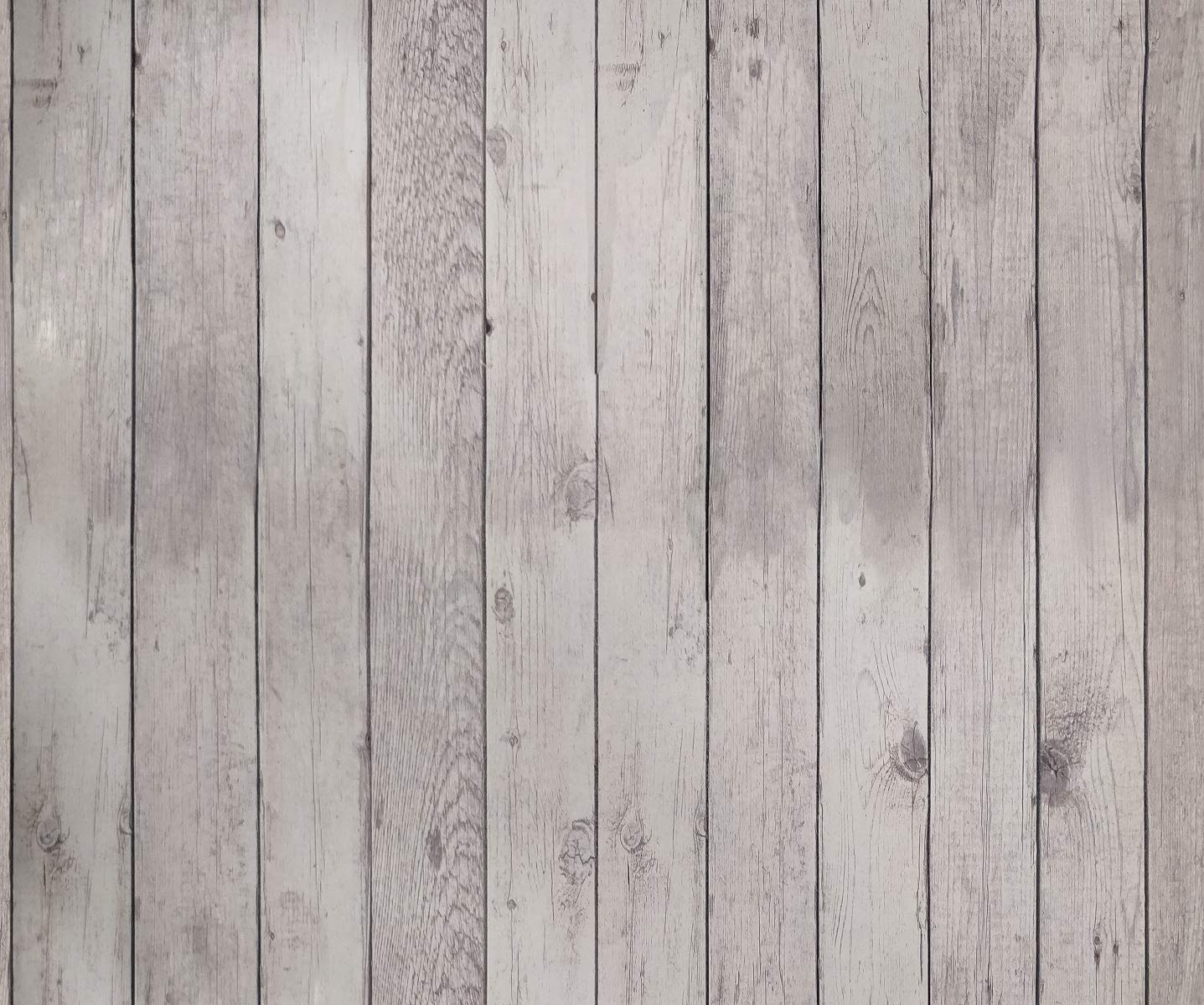 White Tokuwell Self-Adhesive Vintage Wood Vinyl Wrap Film Wallpaper Decor Peel and Stick 17.71 x 78 per Roll