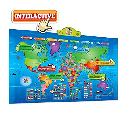 Kids Interactive Talking World Map Touch Activated Geography for Kids, Push-to-Talk Map Learn Over 1000 Facts and Quizzes About 92 Countries World Map Puzzle Game, Fun & Educational: Toys & Games
