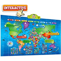 Kids Interactive Talking World Map Touch Activated Geography for Kids, Push-to-Talk Map Learn Over 1000 Facts and Quizzes About 92 Countries World Map Puzzle Game, Fun & Educational