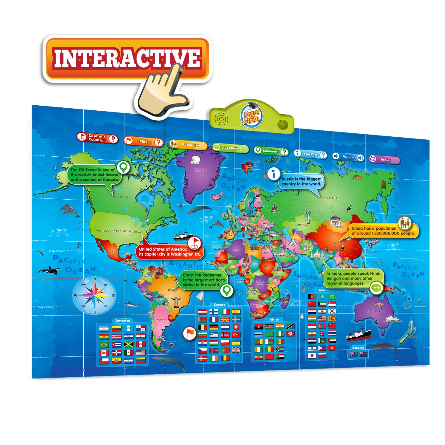 Kids Interactive Talking World Map Touch Activated Geography for Kids,  Push-to-Talk Map Learn Over 1000 Facts and Quizzes About 92 Countries World  Map
