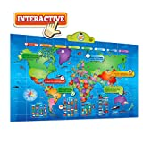 World Map Kids Interactive Map of the World Touch Activated Fun and Educational Talking Map, Push-To-Talk Kids World Map Learn Over 1000 Facts and Quizzes About 92 Countries