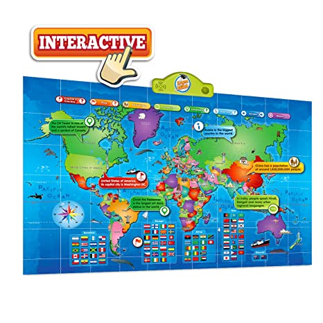 Amazoncom Kids Interactive Talking World Map Touch Activated
