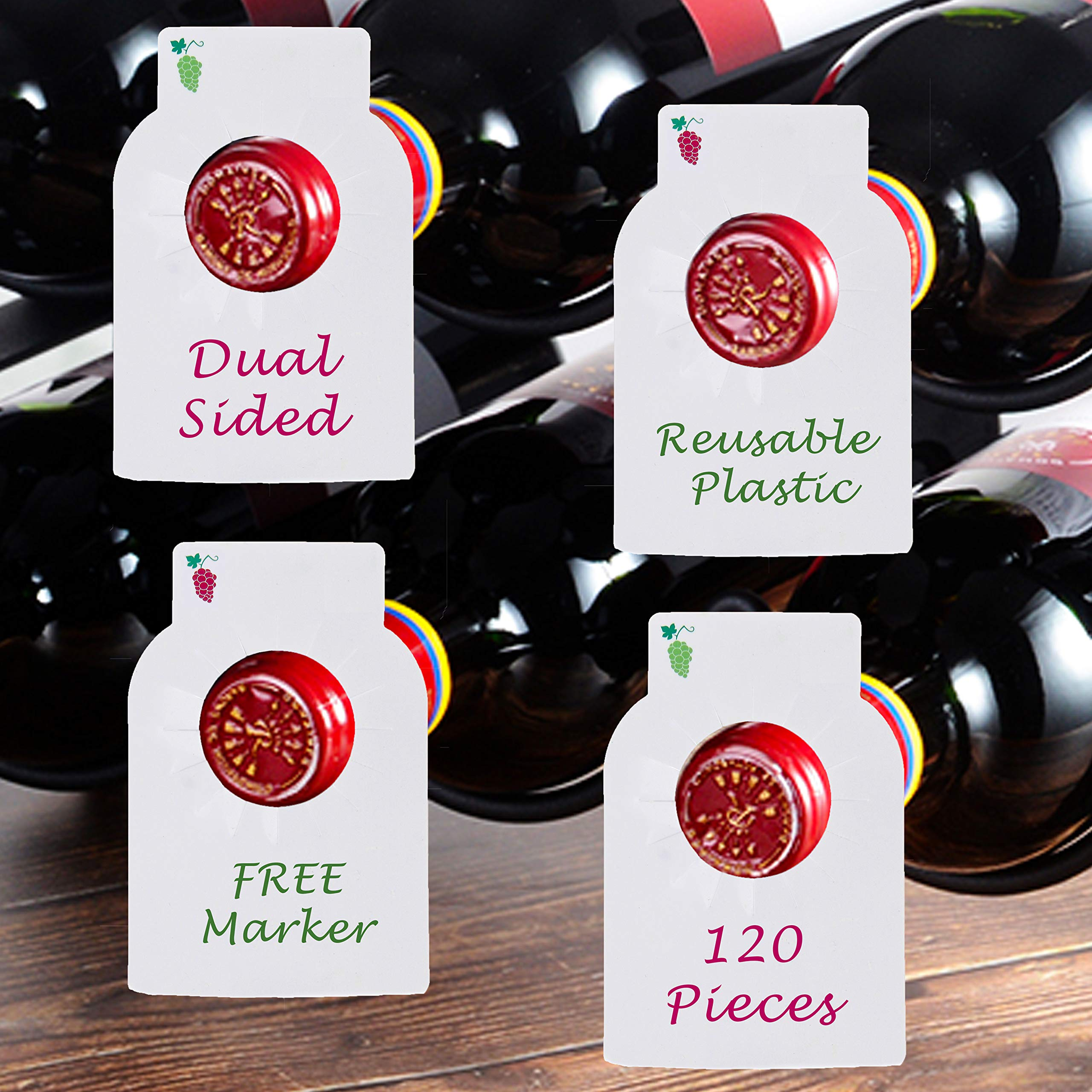 Reusable Wine Bottles Tag Racks Bottle Labels Hang Tags Cellar Storage Glass Markers Plastic Custom Label Fit Enthusiast Erasable Wipes Dry Erase Marker Colored Rack Bulk Blank Liquor Hangers 120 PCS by Dapper Display