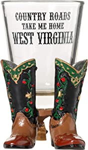 West Virginia Country Roads Take Me Home Boots Souvenir Shot Glass (1)