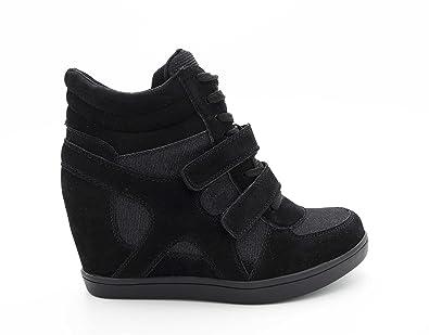 6b95174f3e8 Baskets Compensées Femmes – Sneakers Tennis Casuel Montantes - Chaussure  Talon Haut – Bi-matière