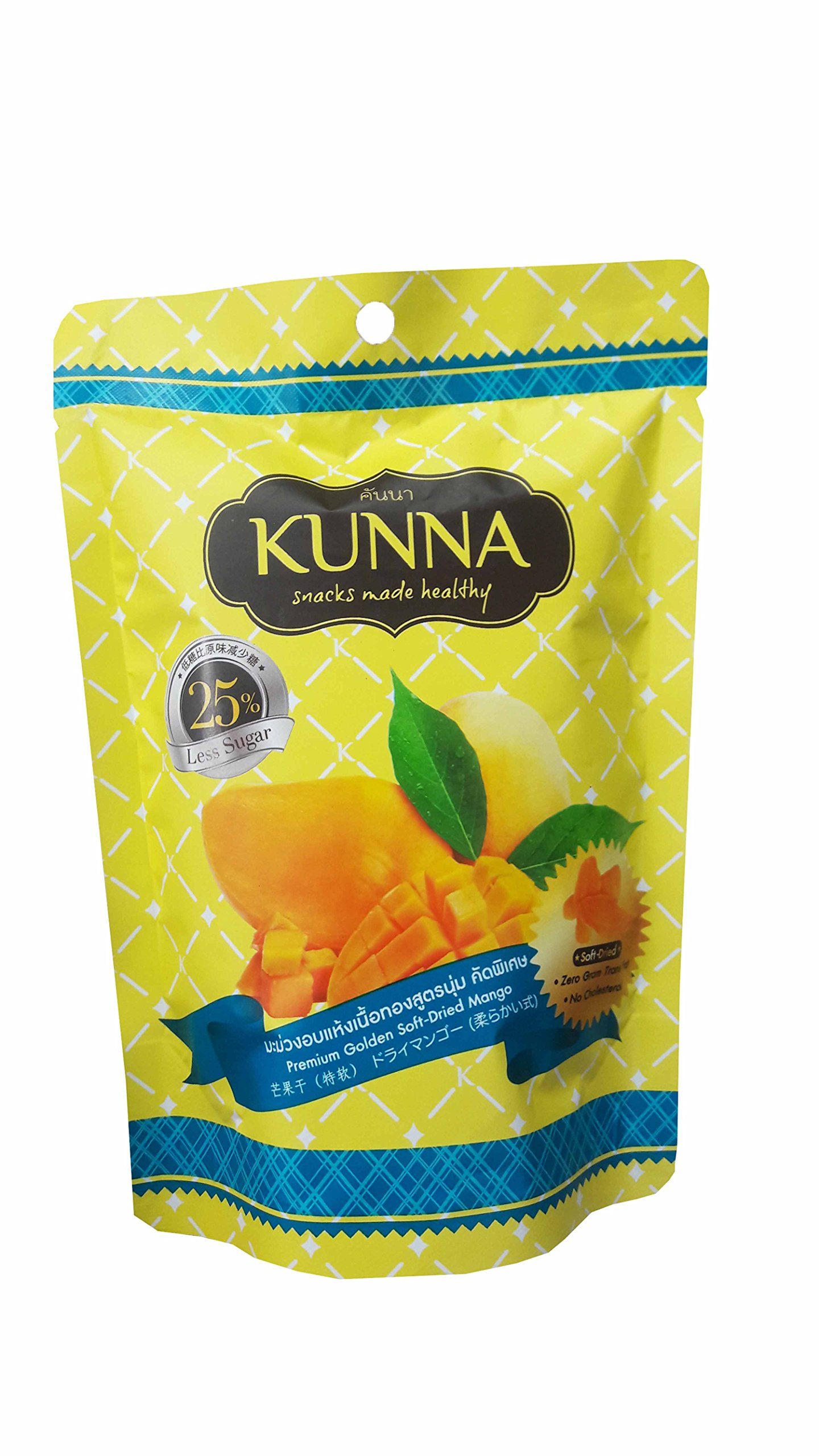 3 Packs of Premium Golden Soft-Dried Mango, snacks made healthy by kunna. Zero gram trans fat, No cholesterol & delicious, premium fruit snack from Thailand) (75 g/pack)