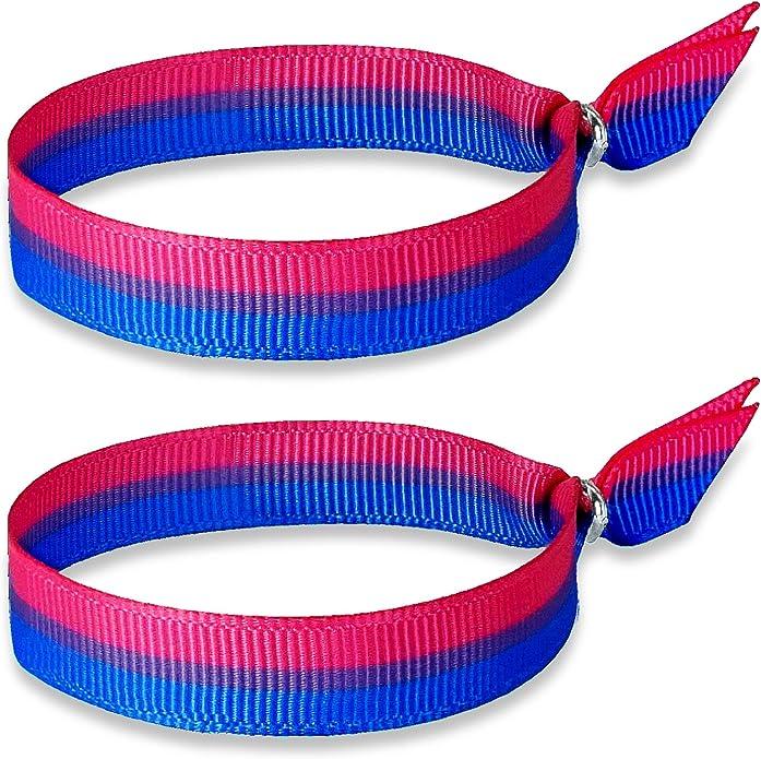 HAND-PRO Pulsera Bisexual Pulsera Bandera Bisexual (x2) Cinta Bisexual Simbolo de Orgullo Personal Pulsera Pride Pulsera LGTBI (30x1cm): Amazon.es: Joyería