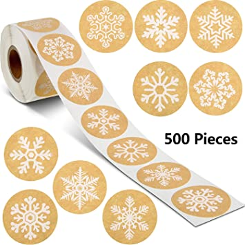 Happy New Year Stickers Thank You Seal Stickers Valentines Day Stickers Inspirational Quote Stickers Snowflake Label Stickers New Year Black, 500 Pieces