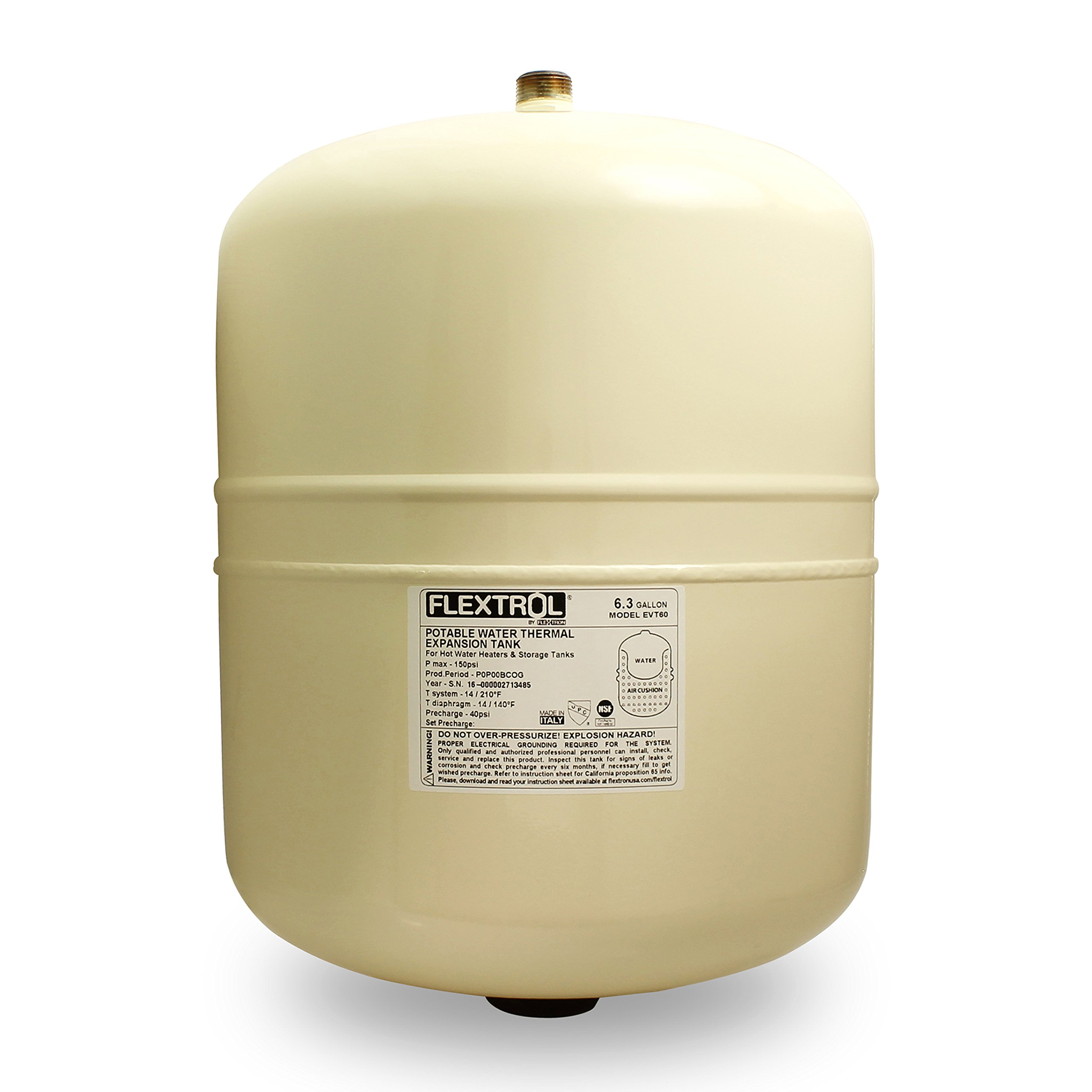 Flextrol Thermal Expansion Tanks - For Hot Water Heaters 6.3 Gallons, Carbon Steel Shell, Stainless Steel 3/4 Inch MIP Connection, Butyl Diaphragm, 150 PSI, 210 Degrees Fahrenheit, Almond Color