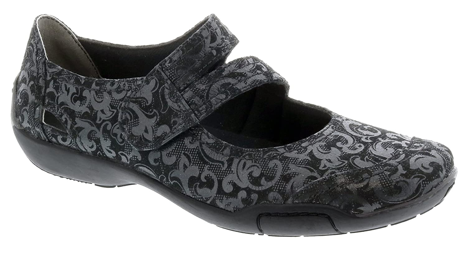 Ros Hommerson Chelsea Mary Jane Women's Slip On Shoes B07FNS2YQT 10 C/D US|Black/Jacquard