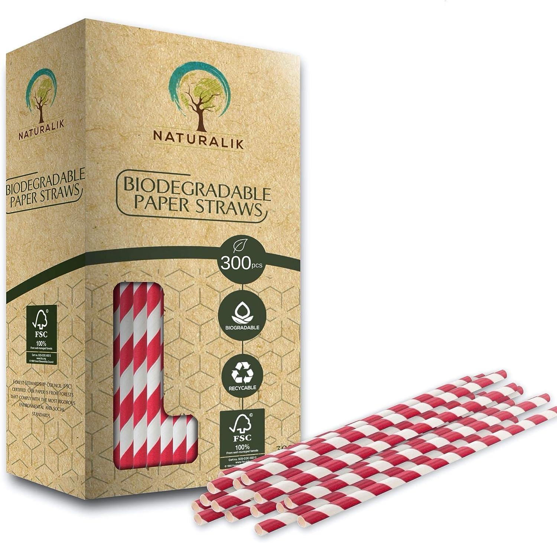 Naturalik Rainbow 300 pajitas de papel biodegradables - 10 colores ...