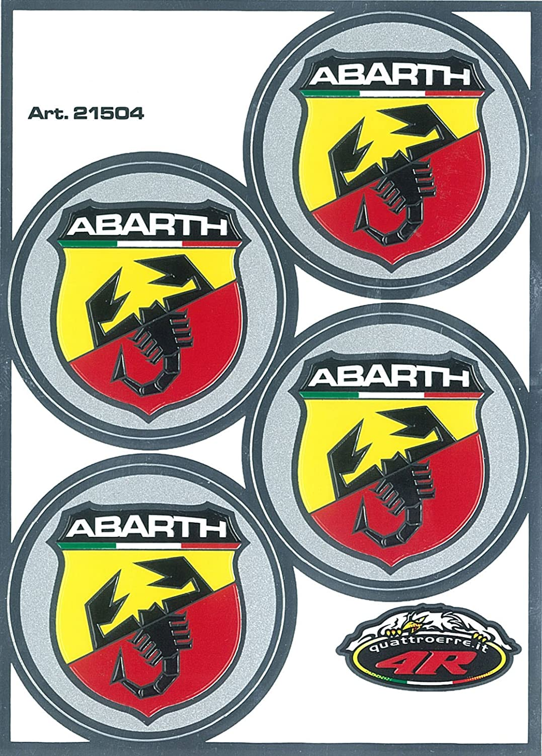 Abarth 21504  Lot de 4  autocollants é cussons diamè tre 48 Quattroerre Italia