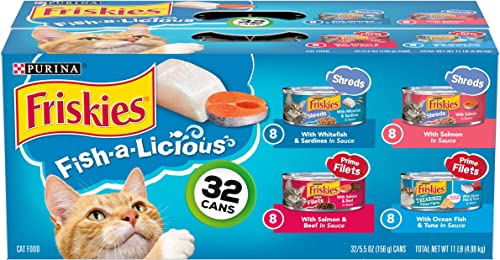 Purina Friskies Wet Cat Food Variety Pack, Fish-A-Licious Shreds, Prime Filets Tasty Treasures – 32 5.5 oz. Cans