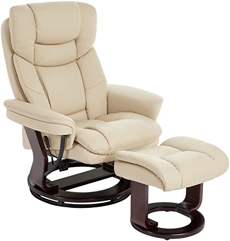 Groovy Jc Home Argus Ultra Plush Bonded Leather Swiveling Recliner With Mahogany Wood Base And Matching Ottoman Vanilla Pdpeps Interior Chair Design Pdpepsorg