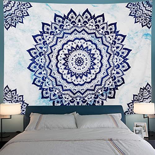 Leofanger Mandala Tapestry Blue Flowers Tapestry Bohemian Tie Dye Mandala Wall Tapestry Hippie Tapestry Wall Hanging for Living Room XL-70.8 94.5 , Blue White