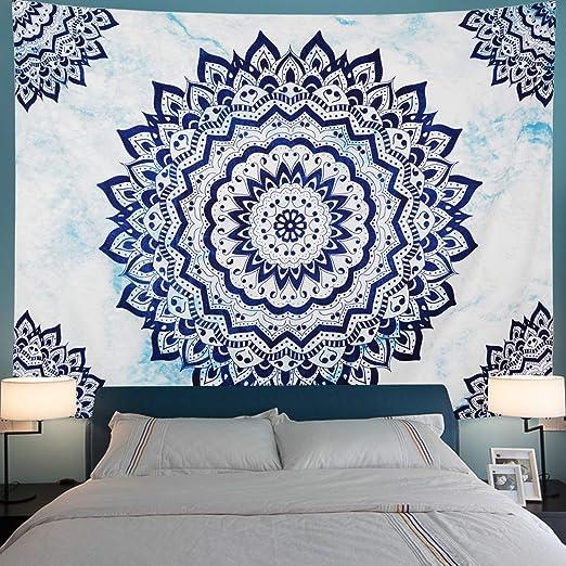 E by design Wood Stripe Geometric Print Tapestry 50 x 60 Navy Blue