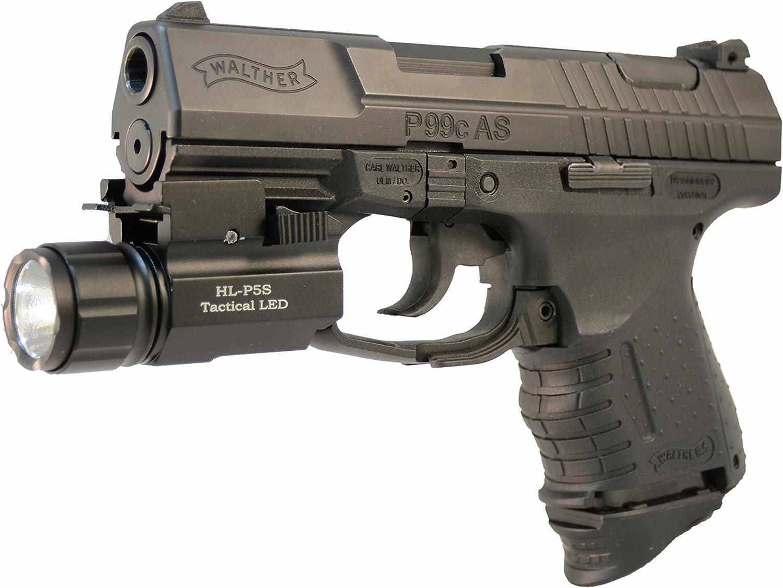 Image of an Aimkon Highlight  Pistol LED Strobe Flashlight, attached to a pistol.