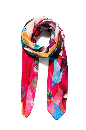 Desigual Women s Crhystal Gogo Rectangle Flower Print Foulard Scarf,  Persian red, One Size ae28b82e2907