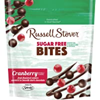 Russell Stover Sugar-Free Dark Chocolate Bites, Cranberry, 5 Ounce Resealable Bag, Sugar-Free Candy, Bite Sized Cranberry Bites Covered in Chocolate Candy Sweetened with Stevia