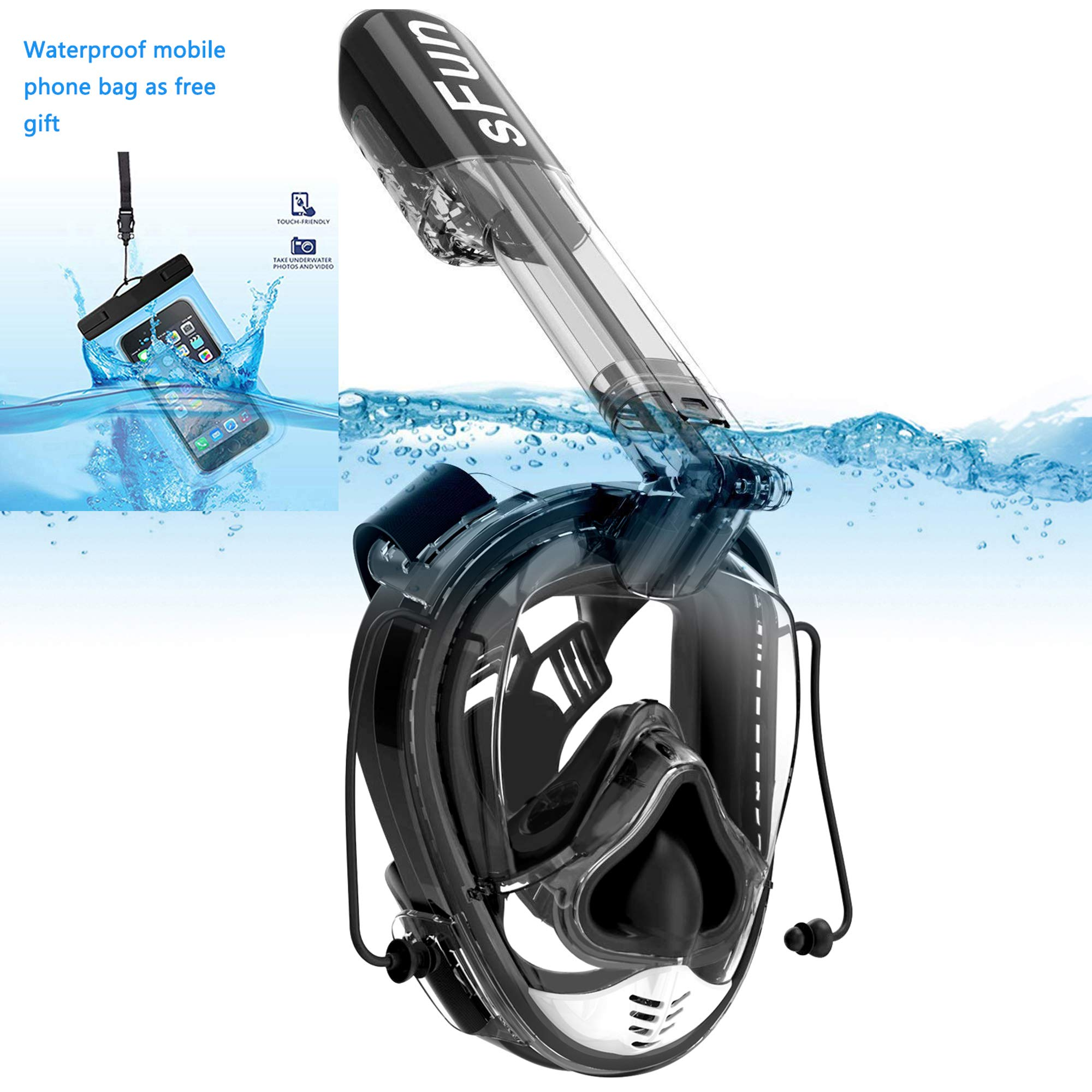 SFUN Snorkeling Mask Full Face Snorkel Mask Anti-Fog Panoramic Snorkel Mask for Scuba Diving Snorkeling (Black) by SFUN