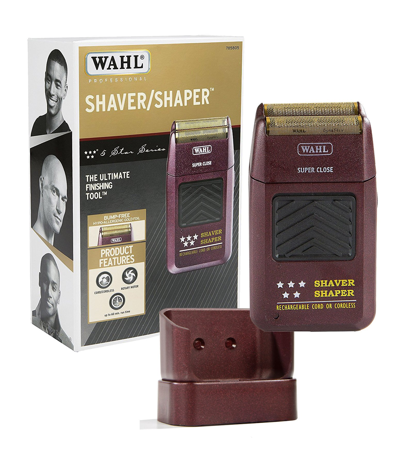 Wahl Professional 5-Star Series Rechargeable Shaver/Shaper #8061-100 with Charge Stand #7031-900 – Great for Barbers and Stylists