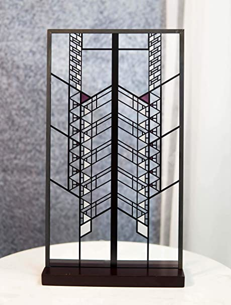Ebros Frank Lloyd Wright Hollyhock House Design Stained Glass Art Suncatcher Metal Framed Hanging Wall Decor Or Desktop Plaque Home Or Office Decorative Masterpiece 14 By 7 75 Home Kitchen