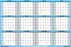 32x48 SwiftGlimpse 2020 Wall Calendar Erasable XXL Jumbo Wet & Dry Erase Laminated 12 Month Planner, Horizontal, Blue
