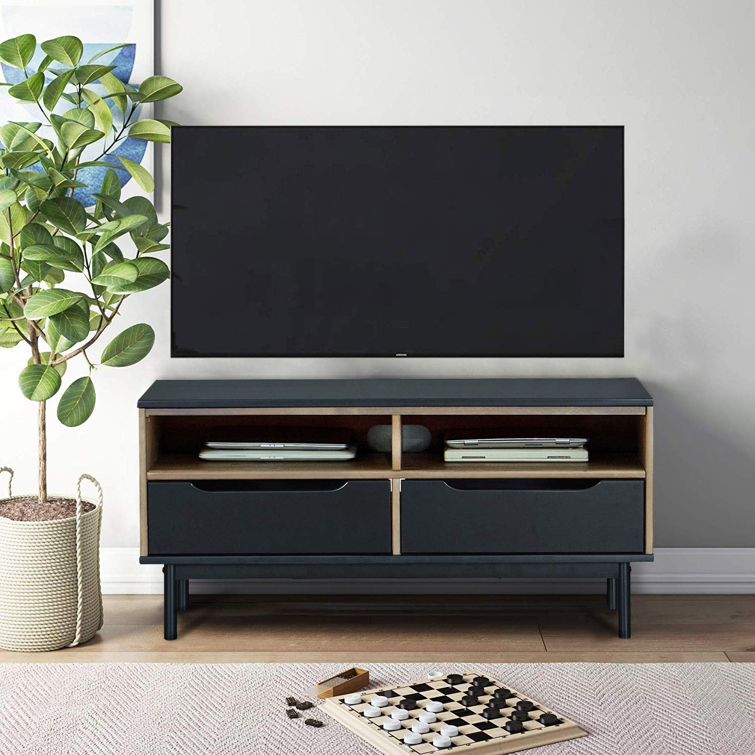 MUSEHOMEINC Wood TV Stand/Media Console with Shelve and Drawer for Living Room,Mid-Century Modern Style,TV Sides Up To 50 Inch/Multipurpose Entertainment Media Center,Black and Antique Gray Finish by MUSEHOMEINC