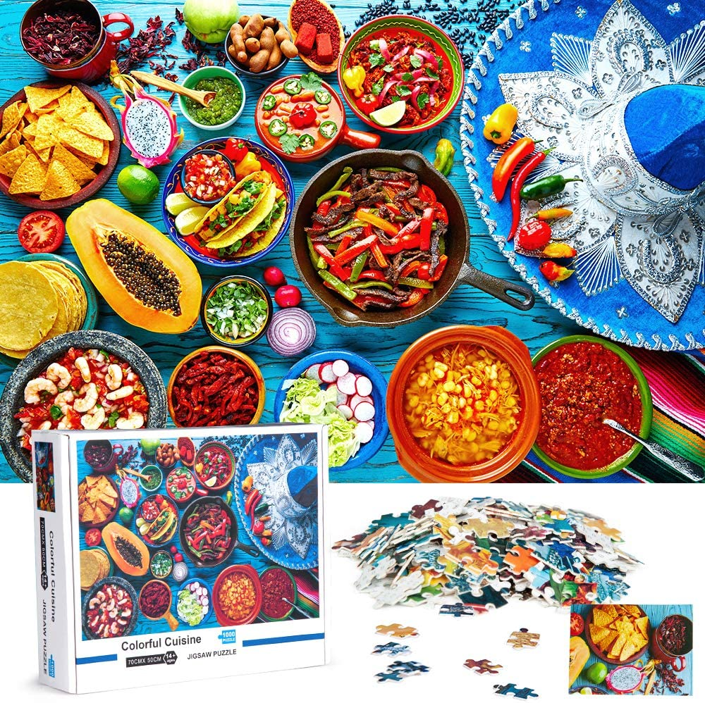 Pantula 1000 Piece Puzzles for Adults - Jigsaw Puzzles - Colorful Cuisine Puzzle Game Artwork for Adults Teens Family