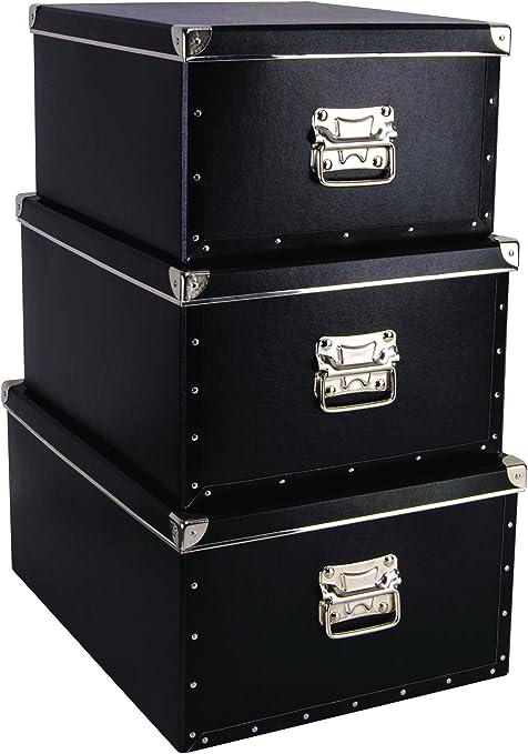 KAZETO 1106793-5363-3880 - Lote de 3 Cajas de cartón con Esquinas metálicas (36 x 43 x 22 cm 38 x 48 x 23 cm 40 x 53 ...