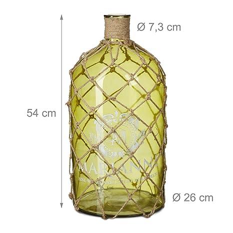 Relaxdays marítima Deco Botella, jarrón de Suelo 54 cm y Grande Jarra de Cristal con diseño de Red de Pesca, Cordel de Yute, Vintage Print, tamaño: 54 x 26 ...