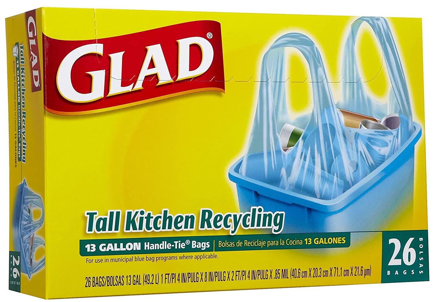 Glad Tall Kitchen Handle-Tie-Blue-26 ct, 13 Gal