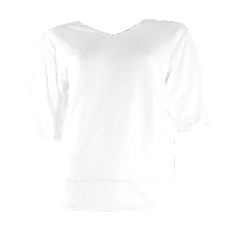 Ladies Thermal Underwear Womens Thermal Brushed Short Sleeve T Shirt Warm Vest S-XL White Medium