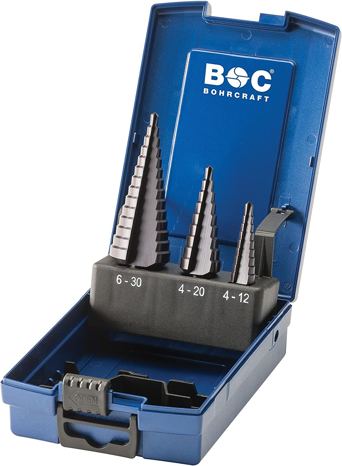 Bohrcraft 17621330003/Stepped Drill Bit HSS-TiAIN in ABS Box 3/Piece Set Sizes 1//2/A//3/A//STB3/K Tialn