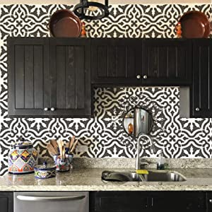 """Toledo Tile Stencil for Painting Spanish Style Tiles - DIY Kitchen Backsplash and Floor Designs (Small 6""""x6"""")"""