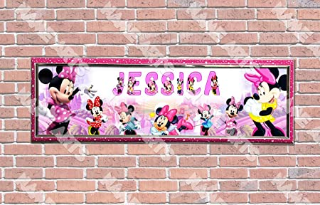 Personalized Customized Minnie Mouse 2 Name Banner Wall Decor Poster with Frame